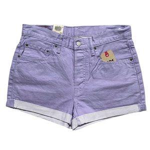 Levi's 501 Cuff Lavender Shorts Mid Rise W30 NWT